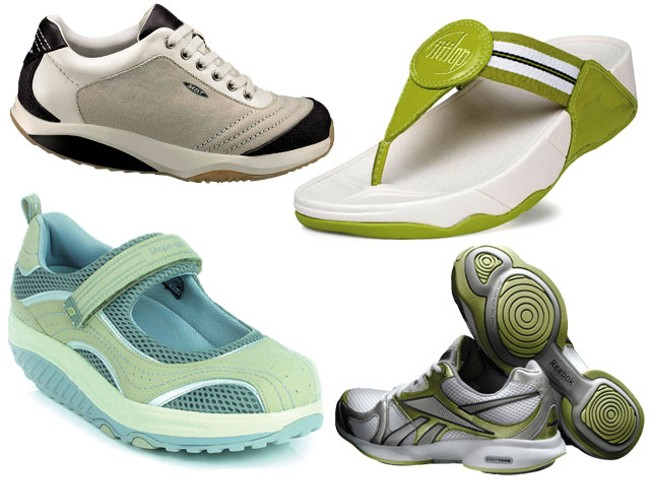 Some of the shoes that claim to be good for your muscle tone: Reebok EasyTones, MBTs, FitFlop sandals and Sketchers Shape-Ups