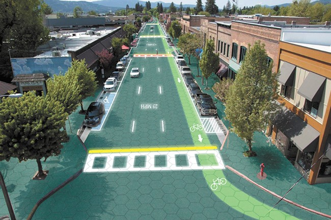Some sidewalks and parking lots in downtown Sandpoint will be covered by solar panels by the end of 2015. In the future, the goal is to cover roads themselves as envisioned above.| Sam Cornett illustration - SAM CORNETT ILLUSTRATION