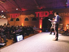 Speakers at a TEDx event in Massachusetts earlier this month. - MICHAER J EPSTEIN