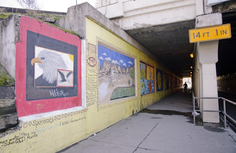 An existing mural beneath the train overpass on the east side of Browne Street. The west side, currently blank, is one of the locations that will be painted. - LISA WAANANEN