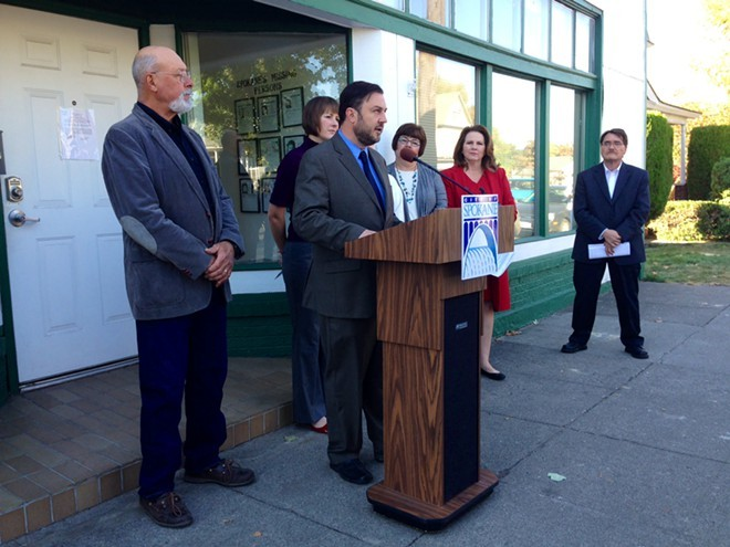 Spokane city councilmembers held a press conference last month to criticize the mayor's proposed 2015 budget, which they amended and passed Monday. - HEIDI GROOVER