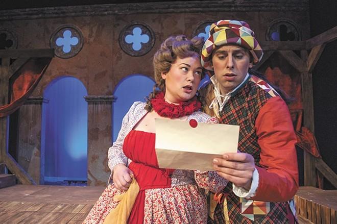 Mallory Ware as Smeraldina and Preston Loomer as Truffaldino in the Civic's  The Servant of Two Masters. - SARAH WURTZ