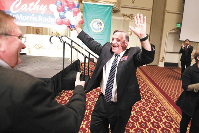 Spokane County Prosecutor Larry Haskell celebrating on election night. - YOUNG KWAK