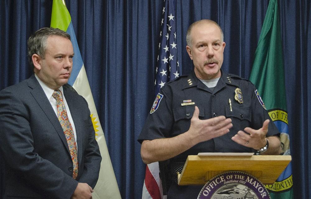 Spokane Mayor David Condon and Police Chief Frank Straub. - JACOB JONES