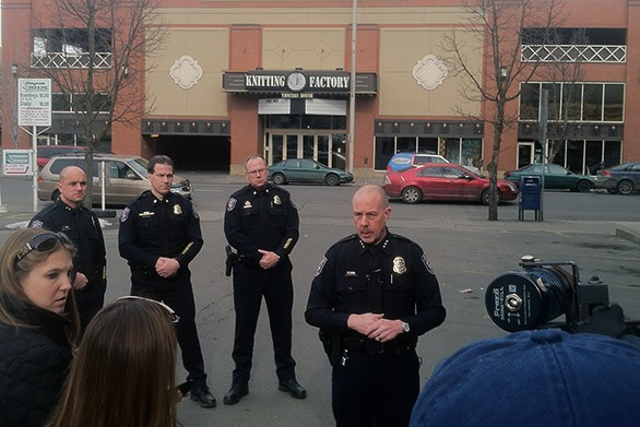 Spokane Police Chief Frank Straub speaks to the media outside the Knitting Factory. - JACOB JONES