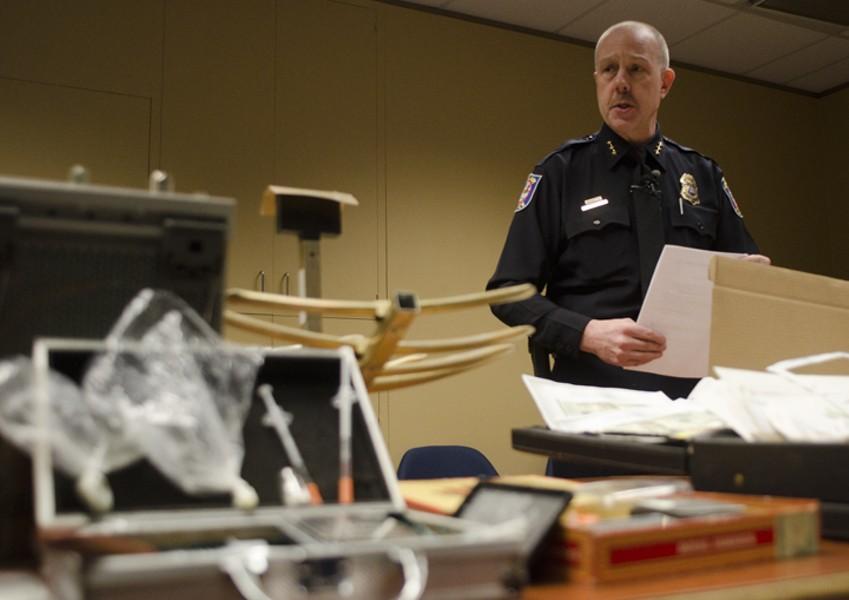 Spokane Police Chief Frank Straub announces arrest and seizures. - JACOB JONES