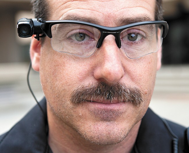 Spokane police tested a glasses-mounted camera before later selecting a simpler chest-mounted model. - STEPHEN SCHLANGE PHOTO