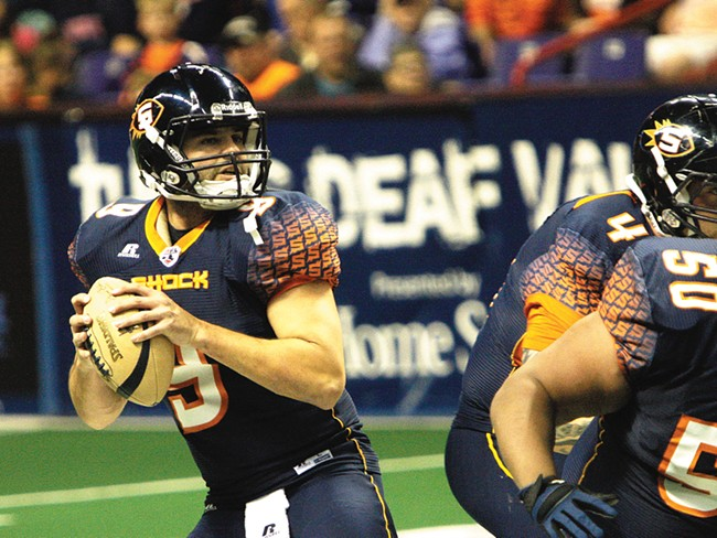Spokane Shock quarterback Erik Meyer has tossed 50 touchdown passes in just seven games. - YOUNG KWAK