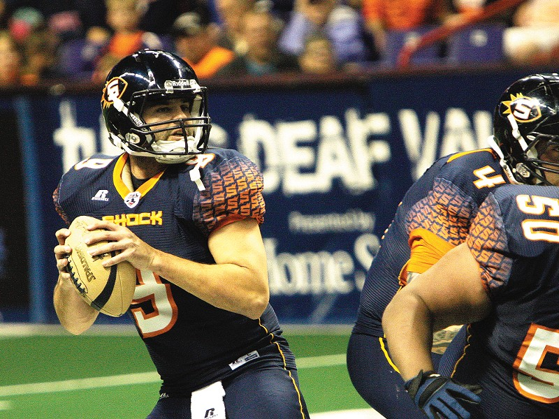 Spokane Shock quarterback Erik Meyer has tossed 50 touchdown passes in just seven games. - YOUNG KWAK