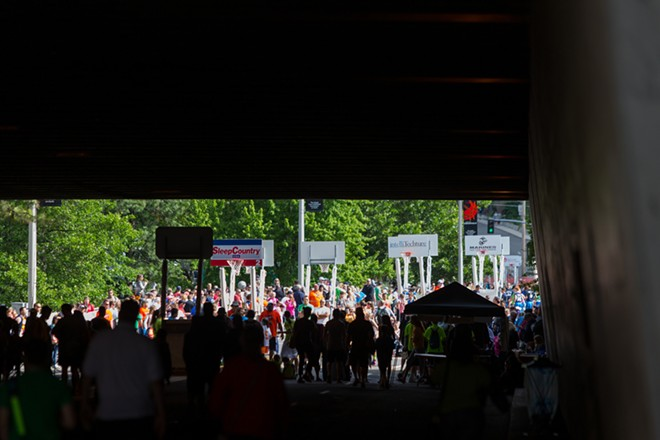 Spokane streets were turned into a sea of basketball. - MATT WEIGAND