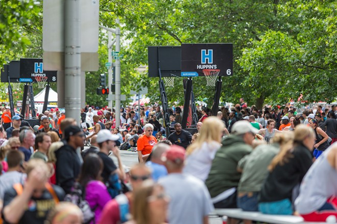 Players and spectators filled downtown streets. - MATT WEIGAND