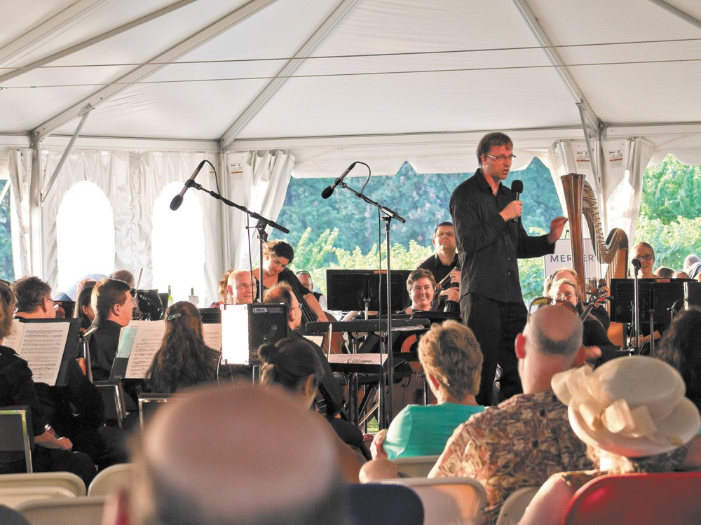 Spokane Symphony music director Eckart Preu addresses the audience at last year's Soiree on the Edge.