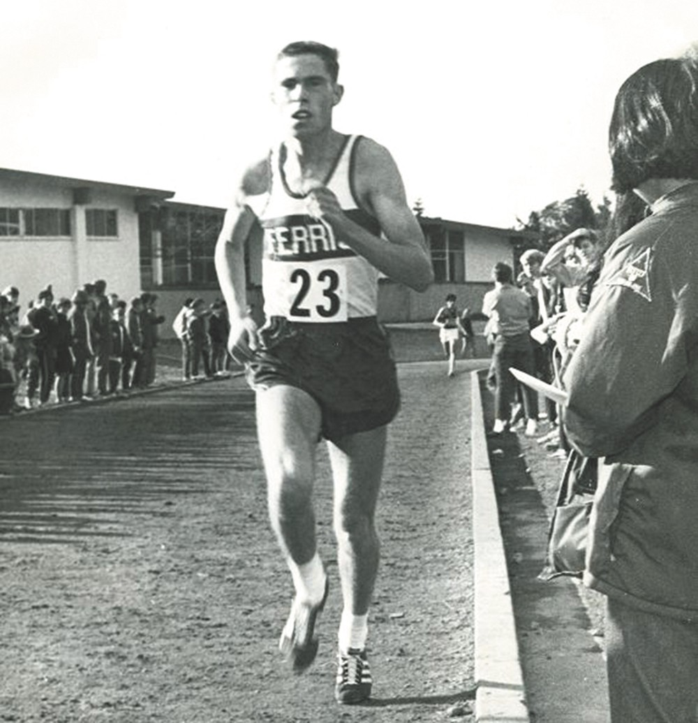 Spokane track star Randy James running in the late 1960s.