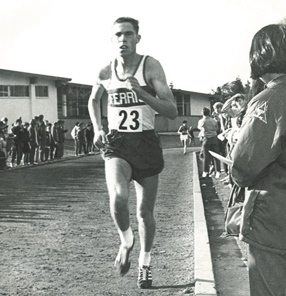 Spokane track star Randy James running in the late 1960s.