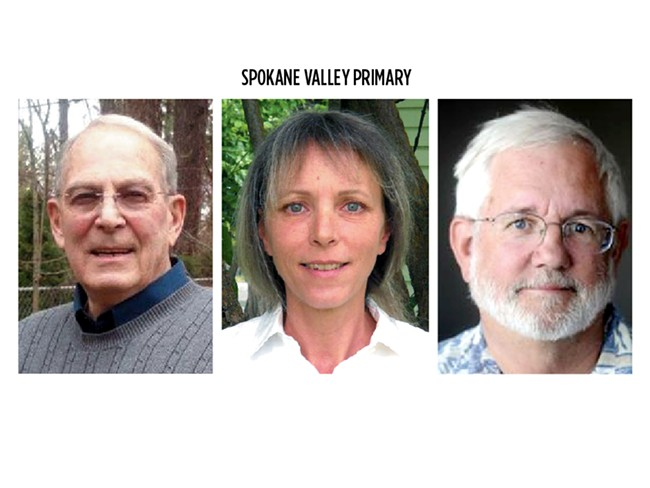 Spokane Valley Councilman Gary Schimmels (left) faces two challengers: DeeDee Loberg and Ed Pace.