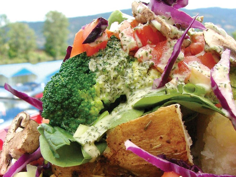 Spuds Rotisserie and Grill's Garden Potato. Try it during Dine Around Sandpoint