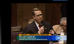 State Rep. Matt Shea speaking out for the right of veterans to some medicinal weed.