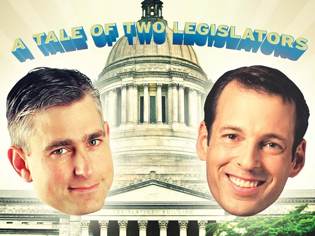 State Sen. Michael Baumgartner (left) and State Rep. Andy Billig - ILLUSTRATION: CHRIS BOVEY