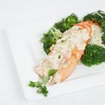 Steelhead Trio, a pan seared steelhead filet with crab and shrimp, from Steelhead Bar & Grille.