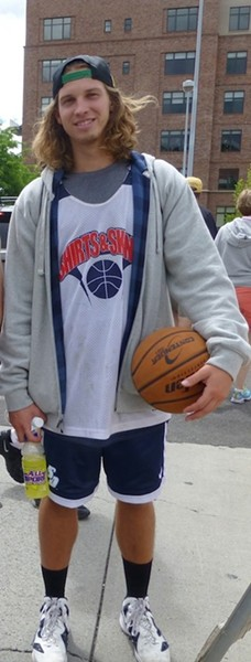 Stephen Ferraro got his game on with his California-inspired hair and sporty street style. The Spokane Dank Doggz ruled the court. - MADISON BENNETT