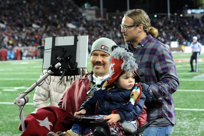 Steve Gleason being honored at halftime of the 2014 Apple Cup. - WSU ATHLETICS