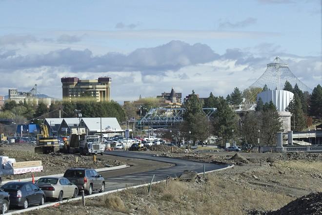 Summit Parkway being paved through Kendall Yards toward Monroe Street last week. - JACOB JONES