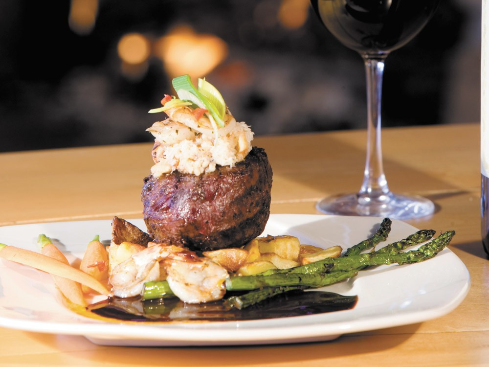 Surf deliciously meets turf with Elkins shrimp-and-crab stuffed sirloin steak.