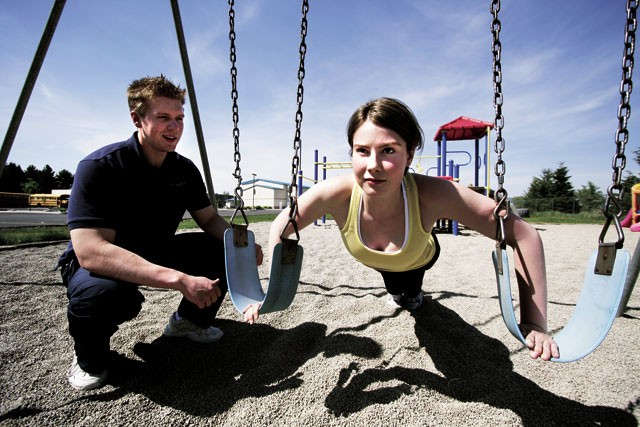 Swing Set Pushup - PRIMARY MUSCLE(S): chest, triceps, abdominals