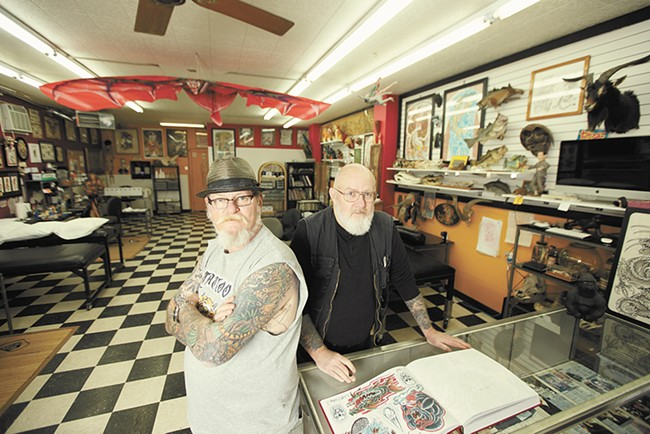 Tattoo artist Duffy Moon, left, and owner Walt Dailey at Tiger Tattoo. - YOUNG KWAK