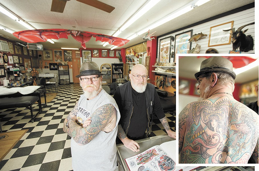 """Tattoo artist Duffy Moon, left, and Walt Dailey of Tiger Tattoo. Dailey says of tattoos: """"We see and we covet."""" - YOUNG KWAK"""