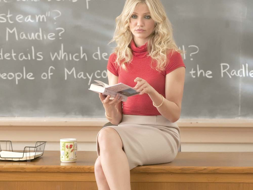 Teacher's being naughty. But the movie she's in is good.