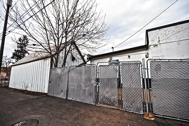 The alley behind the Truth Ministries shelter where, on Jan. 16, Spokane police shot Aaron Johnson. - YOUNG KWAK
