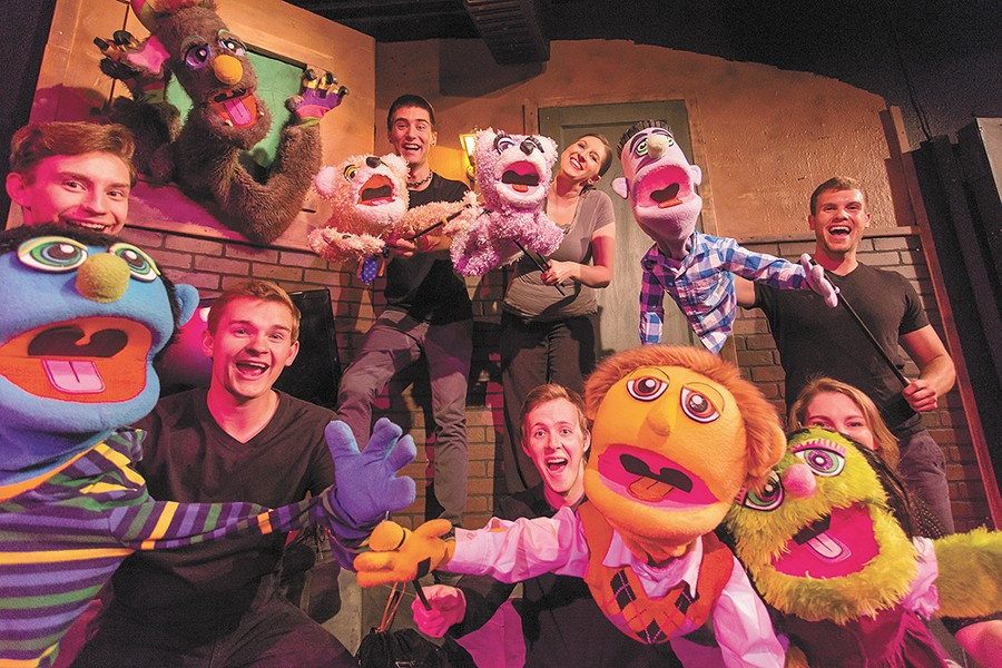 The cast of Avenue Q (and their human controllers) at Lake City Playhouse. - MATT WEIGAND