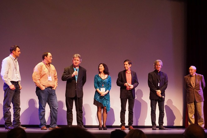 The casts and directors answer questions after the screenings of Dryland and Queens of the Roleo.  From left: Josh Knodel, Matt Miller, Richard Wilhelm and Sue Arbuthnot of Dryland, host Jess Walters, Queens' Dave Jones and Roy Bartlett. - COURTNEY BREWER