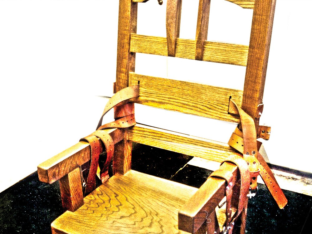 The electric chair at Florida State Prison. A year after this chair was constructed, in 1999, the prison began offering lethal injection.