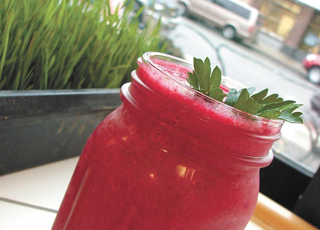 The Heartbeet smoothie from Tierra Madre. - CARRIE SCOZZARO