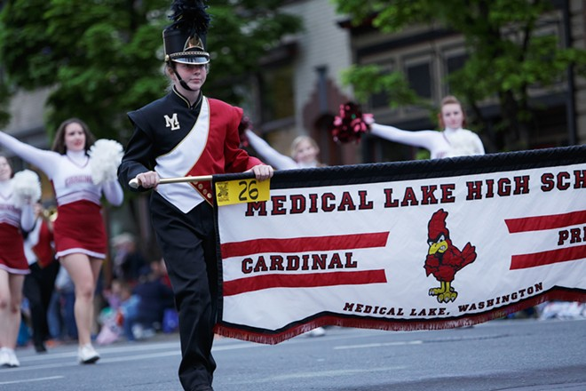 The Medical Lake High School marching band performs. - YOUNG KWAK