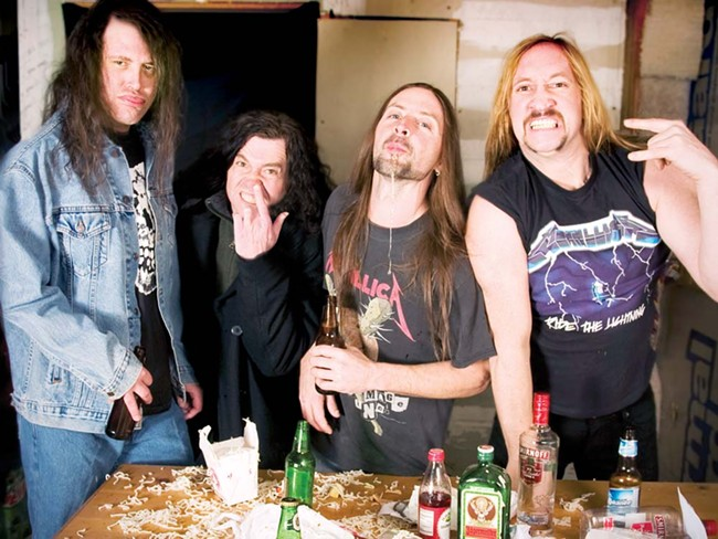 The men of Blistered Earth mimicking an old Metallica press photo. - LANCE PUTT
