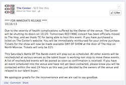 The message posted on Facebook last week, which was later deleted.
