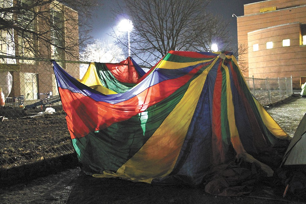 """The parachute """"tent"""" stands out."""