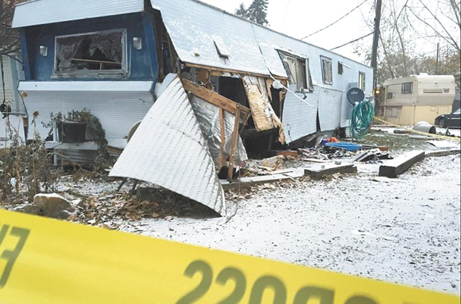 The scene of an explosion in November. - KXLY PHOTO