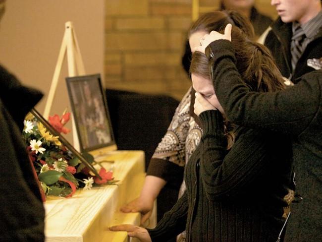 The scene of Kenneth Dennis's funeral on Monday - BEN TOBIN