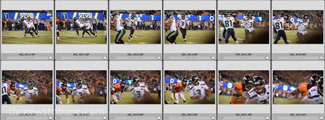 The sequence of photos Barrentine shot as Seahawks quarterback Russell Wilson ran his direction. - JOE BARRENTINE / THE NEWS TRIBUNE