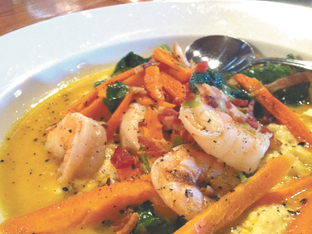 The shrimp and grits at Bistro on Spruce.| - CARRIE SCOZZARO
