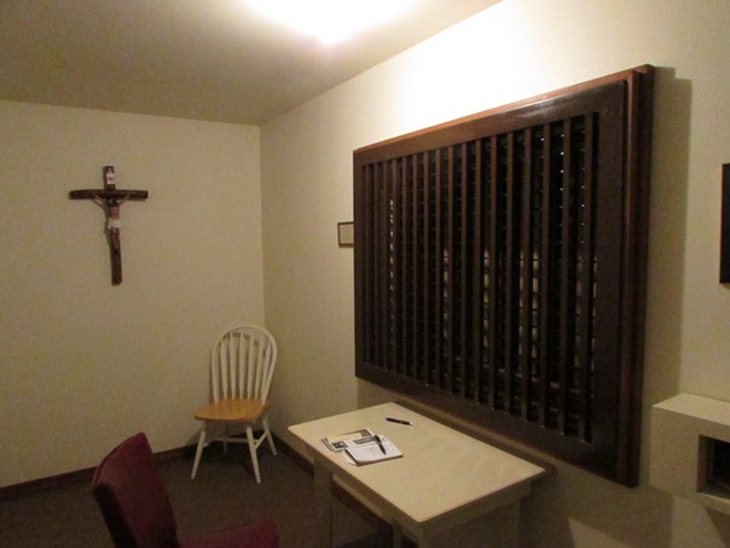 "The ""small parlor"" room, where I interviewed Mother Marie of Jesus Hostia and the subprioress from behind an opaque screen. - DANIEL WALTERS"