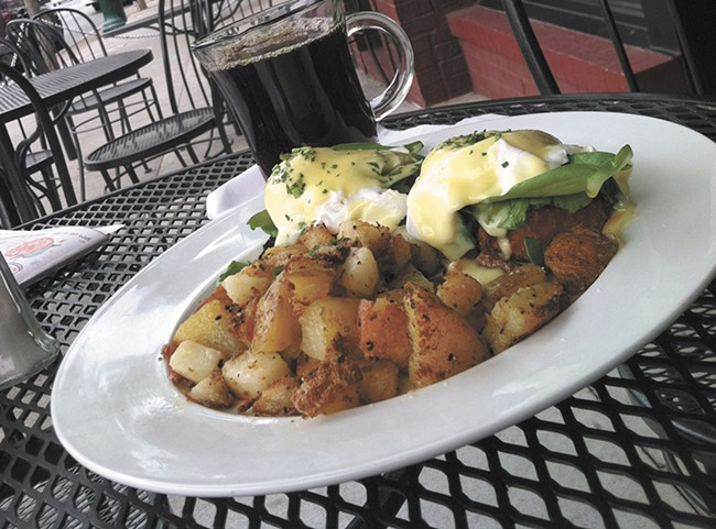The steelhead eggs Benedict is just one of the items on the Cellar's new breakfast menu. - CARRIE SCOZZARO