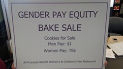 The three female members of Spokane City Council held a decidedly unequal bake sale. - JAKE THOMAS