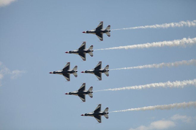 The U.S. Air Force Thunderbirds Air Demonstration Squadron perform in their F-16s. - YOUNG KWAK