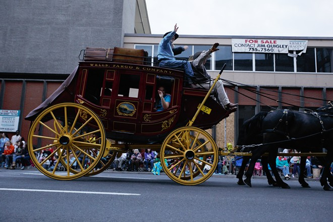 The Wells Fargo stagecoach passes by. - YOUNG KWAK
