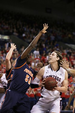 Kelly Olynyk in the Feb. 7 game against Pepperdine. - YOUNG KWAK